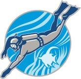 Unterwasseratemgerät-Taucher-Tauchen Retro- Lizenzfreies Stockbild