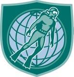 Unterwasseratemgerät-Taucher-Tauchens-Sturzflug-Weltschild Lizenzfreie Stockbilder