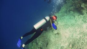 Unterwasseratemgerät-Taucher Unterwasser stock footage