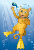 Unterwasseratemgerät-Katze Stockfoto