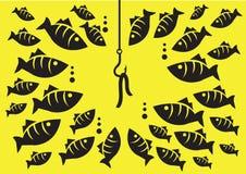 Unterwasserfisch-umgebender Haken mit Köder-Vektor-Illustration Stockfotografie