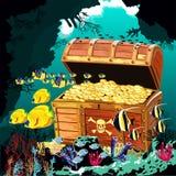 Unterwasserhöhle mit einer offenen Piratenschatztruhe Stockbilder