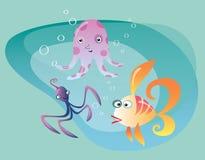 Unterwasserozeanlebenkopffüßerkrake und -fische Stockfoto