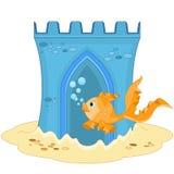 Unterwasserschloss-und Goldfische Lizenzfreie Stockfotografie