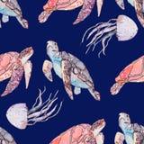 Unterwasserseemuster Meeresschildkröten und Quallen Ozeanvektor Stockbilder