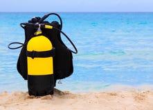 Unterwassertauchensausrüstung auf einem kubanischen Strand Stockbild