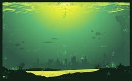 Unterwasserweinlese-städtische Landschaft Lizenzfreie Stockfotos