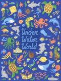 Unterwasserweltsammlung Stellen Sie von den netten Karikaturtieren, Taucher, Unterseeboote ein Auch im corel abgehobenen Betrag lizenzfreie stockfotografie