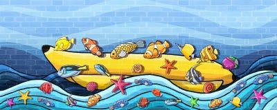 Unterwasserweltspaß-Bananen-Boots-Wand-Farbe vektor abbildung