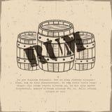 Unterzeichnen handgefertigte Plakatschablone der Weinlese mit alten Fässern und Vektor - Rum Skizzieren der gefüllten Art Retro-  stock abbildung