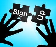 Unterzeichnen Sie anzeigt oben unterzeichnen Mitgliedschaft und das Registrieren stock abbildung