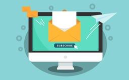 Unterzeichnen Sie für Newsletterkonzept Unterzeichnen Sie Knopf mit Cursor auf dem Bildschirm Öffnen Sie Mitteilung mit Dokument  lizenzfreie abbildung