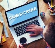 Unterzeichnen Sie folgen Abonnement-Mitgliedschafts-Social Media-Konzept stockfotografie