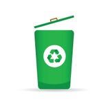 Unterzeichnen Sie für die Wiederverwertung des Vektors auf einem grünen Abfalleimer Stockfotos