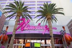 Unterzeichnen Sie herein die Front von Flamingo-Las Vegas-Hotel und -kasino Stockfotografie