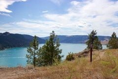 Unterzeichnen Sie herein Kalamalka See-provinziellen Park, Vernon, Britisch-Columbia, Kanada stockfotos