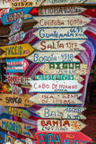 Unterzeichnen Sie herein in Punta del Este Stockbilder
