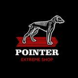 Unterzeichnen Sie Hund auf dem roten Pfeil für Geschäft Lizenzfreie Stockfotos