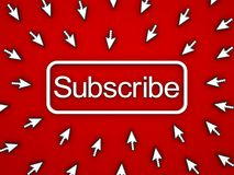 Unterzeichnen Sie Knopf mit vielen Computerpfeil-Cursorn auf rotem Hintergrund Stockbild