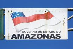 Unterzeichnen Sie mit Flagge von Amazonas-Zustand, Brasilien Stockfotografie