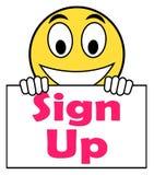 Unterzeichnen Sie oben auf Zeichen-Shows registrieren online vektor abbildung