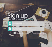 Unterzeichnen Sie oben Mitglied sich anschließen Ausrichtungs-Konto senden Konzept Stockfoto