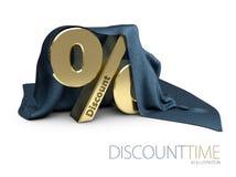 Unterzeichnen Sie, Prozentsymbolrabatt unter dem Stoff, Illustration 3d Lizenzfreie Stockfotografie