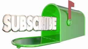 Unterzeichnen Sie Wort-Briefkasten sich anmelden Newsletter-Informationen Lizenzfreie Stockfotos