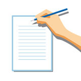 Unterzeichnende flache Vektor-Papierillustration Stockfotos