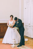 Unterzeichnendes Ehefähigkeitszeugnis der Braut und des Bräutigams Stockfotos