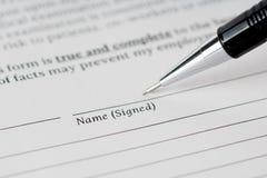 Unterzeichnendes Formkonzept Stockbild
