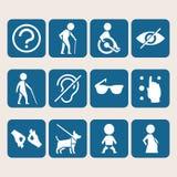 Unterzeichnet bunter Ikonensatz des Vektors Zugang für Körperbehinderterleute Stockbild