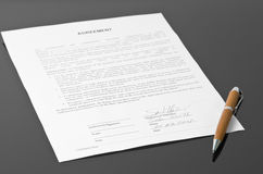 Unterzeichnete Vereinbarung lizenzfreie stockfotos