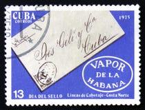 Unterzeichneter Umschlag, das seires ` Stempel-Tag-`, circa 1975 Lizenzfreies Stockbild