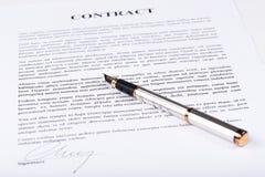 Unterzeichneter Vertrag Lizenzfreies Stockbild