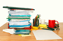 Untidy desk royalty free stock photo