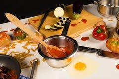 Untidy kitchen table Royalty Free Stock Photos