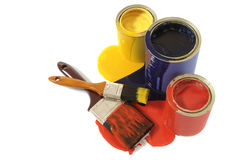 Free Untidy Messy Paint Cans, Paintbrushes, Dripping, Spilt, Isolated On White Background Royalty Free Stock Photos - 50728148