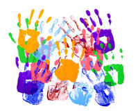 Untidy pattern of child hand prints isolated on white background. Multicolor handprints on a white background stock photos