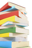 Book stack, tall, isolated white background Royalty Free Stock Photo