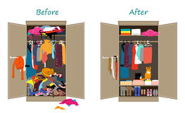 Before untidy and after tidy wardrobe. Messy clothes thrown on a shelf and nicely arranged clothes in piles and boxes. Royalty Free Stock Photography