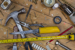 Untidy Workbench - Old Tools Royalty Free Stock Photo