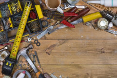 Untidy Workbench - Old Tools - Space for Text Royalty Free Stock Image