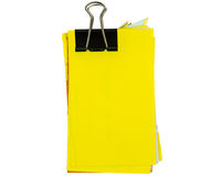 Untidy yellow notepad with binder Royalty Free Stock Photography