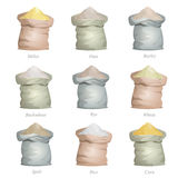 Untied sacks with cereal flour Royalty Free Stock Image