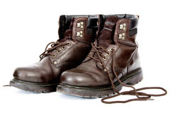 Untied Work Boots. After a Day's Work, Isolated on White Background Stock Photos