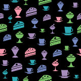 Untitled-1. Icons of ice-cream, cake, mug on wallpaper Stock Photo