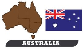 Australia map and flag vector illustration