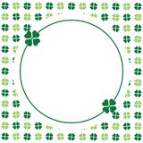 Green seamless pattern with clovers, shamrock leaves for St. Patrick`s Day. Holiday symbol with frame, border for text, greetings. Green clover greeting card for stock illustration