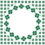 Green seamless pattern with clovers, shamrock leaves for St. Patrick`s Day. Holiday symbol with frame, border for text, greetings. Green clover greeting card for vector illustration
